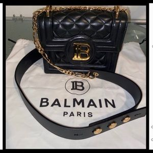 Balmain Cara Quilted Bag w/Gold/Leather Crossbody